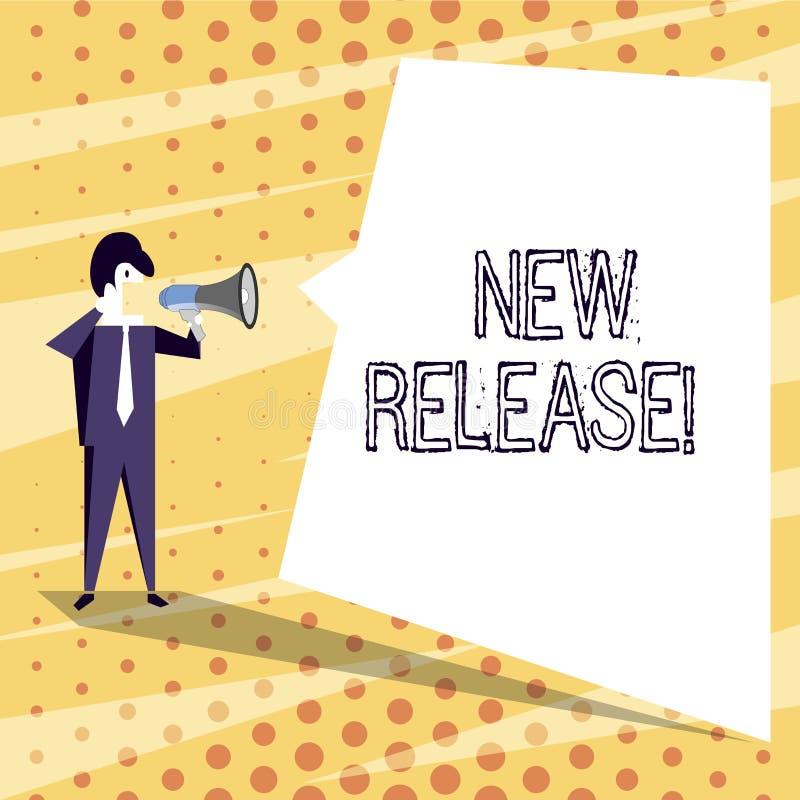 Escritura conceptual de la mano que muestra el nuevo lanzamiento Texto de la foto del negocio que anuncia algo producto reciente  ilustración del vector