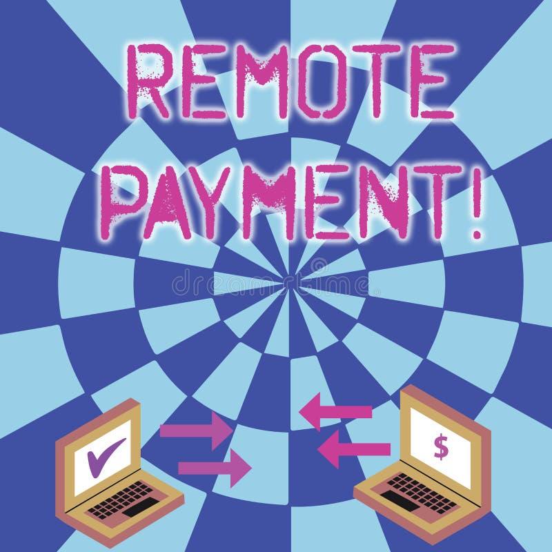 Escritura conceptual de la mano que muestra el pago remoto Transacción del pago del texto de la foto del negocio iniciada vía Int imagen de archivo