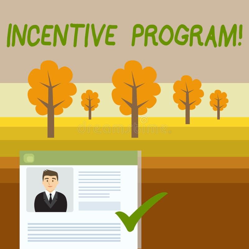 Escritura conceptual de la mano que muestra el programa incentivo Foto del negocio que muestra el esquema específico usado para p ilustración del vector