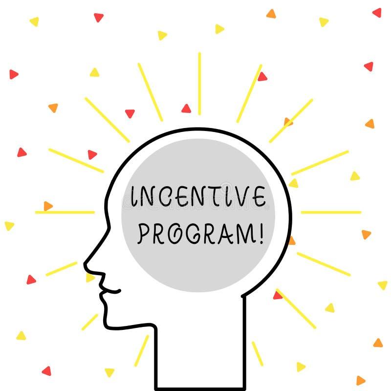 Escritura conceptual de la mano que muestra el programa incentivo Foto del negocio que muestra el esquema específico usado para p stock de ilustración