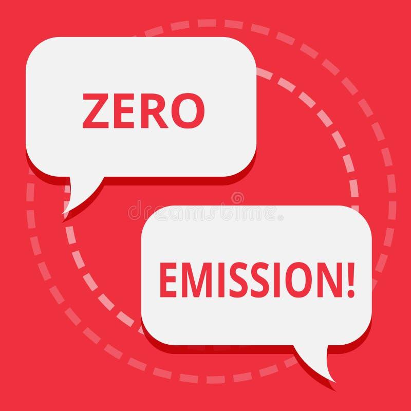 Escritura conceptual de la mano que muestra la emisión cero Fuente de energía del motor del motor del texto de la foto del negoci stock de ilustración