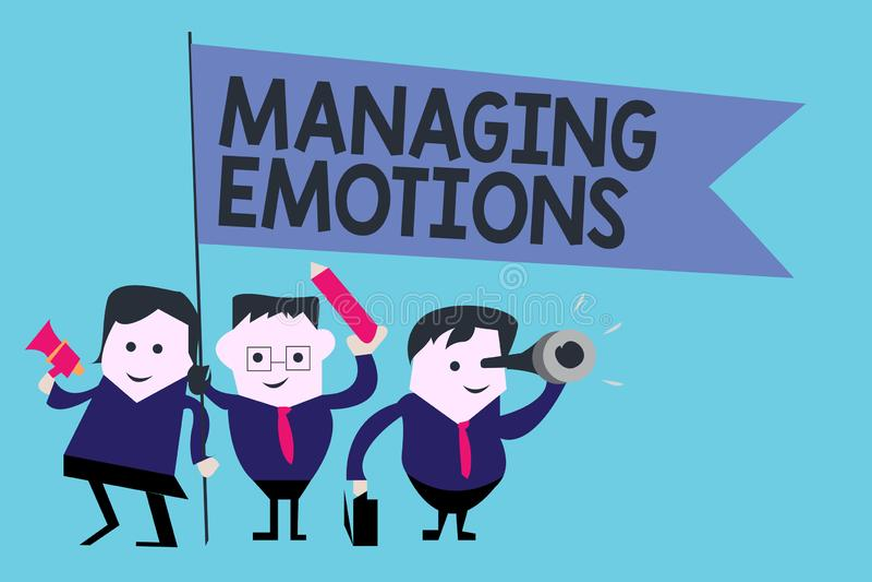 Escritura conceptual de la mano que muestra emociones de manejo Las sensaciones que controlan del texto de la foto del negocio en ilustración del vector