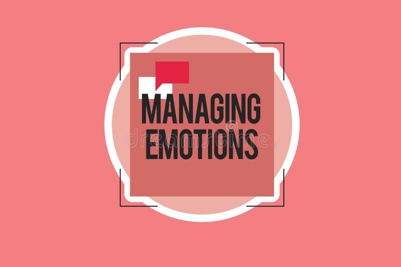 Escritura conceptual de la mano que muestra emociones de manejo Las sensaciones que controlan de exhibición de la foto del negoci ilustración del vector