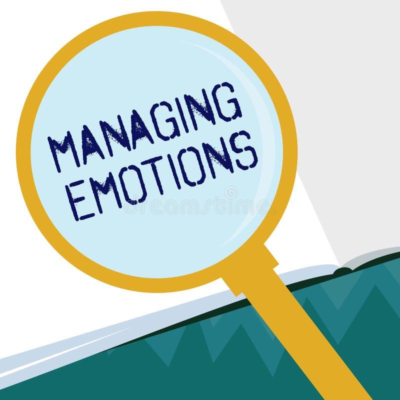 Escritura conceptual de la mano que muestra emociones de manejo Las sensaciones que controlan de exhibición de la foto del negoci libre illustration