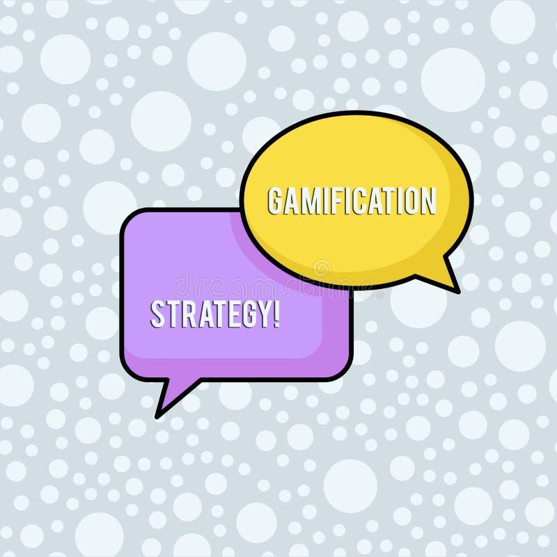 Escritura conceptual de la mano que muestra la estrategia de Gamification Las recompensas del uso del texto de la foto del negoci ilustración del vector