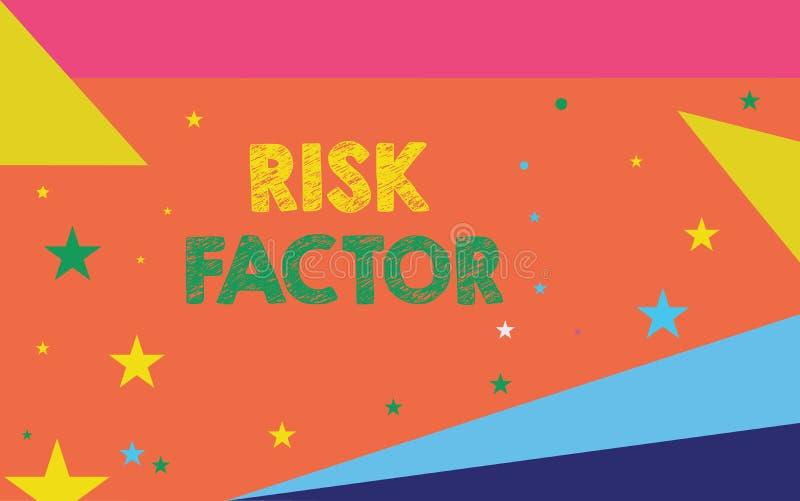 Escritura conceptual de la mano que muestra factor de riesgo Foto del negocio que muestra algo que sube la ocasión de a libre illustration