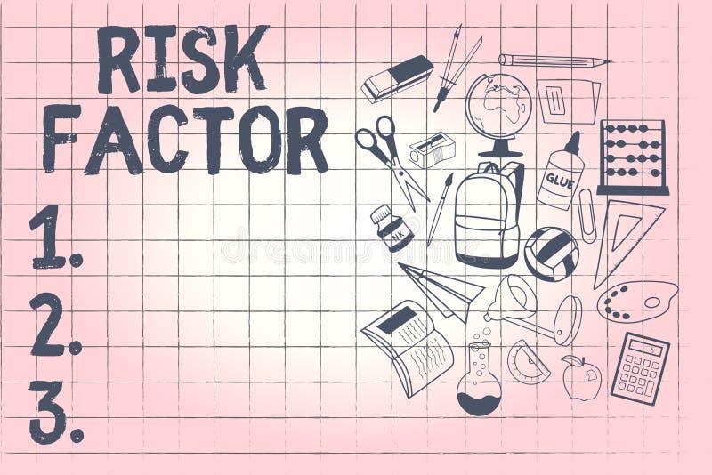Escritura conceptual de la mano que muestra factor de riesgo Foto del negocio que muestra algo que sube la ocasión de a stock de ilustración