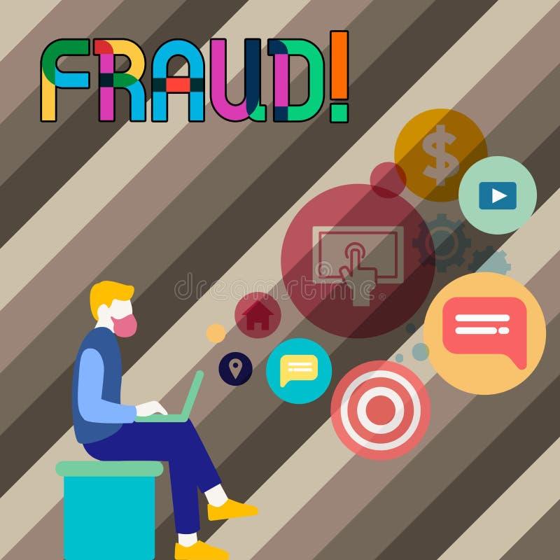 Escritura conceptual de la mano que muestra fraude Foto del negocio que muestra el engaño criminal para conseguir financiero o de ilustración del vector