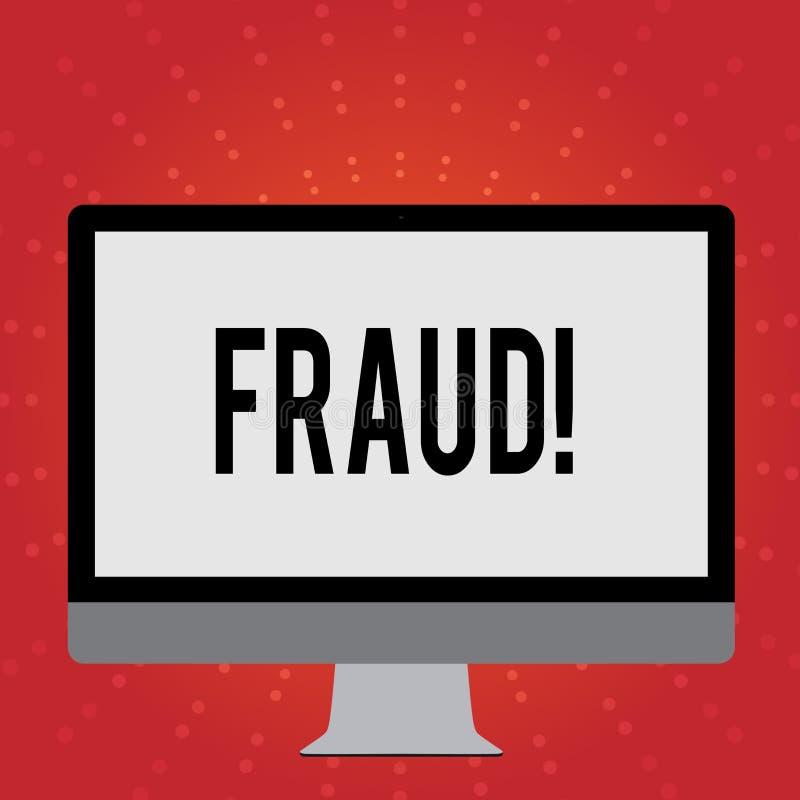 Escritura conceptual de la mano que muestra fraude Foto del negocio que muestra el engaño criminal para conseguir financiero o de libre illustration
