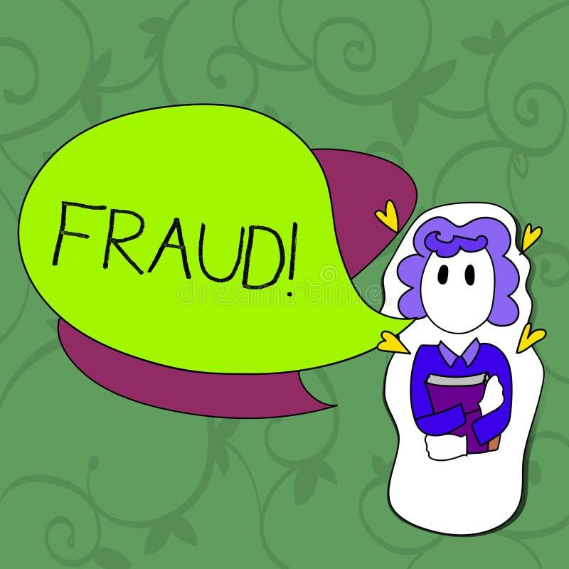 Escritura conceptual de la mano que muestra fraude Foto del negocio que muestra el engaño criminal para conseguir financiero o de stock de ilustración