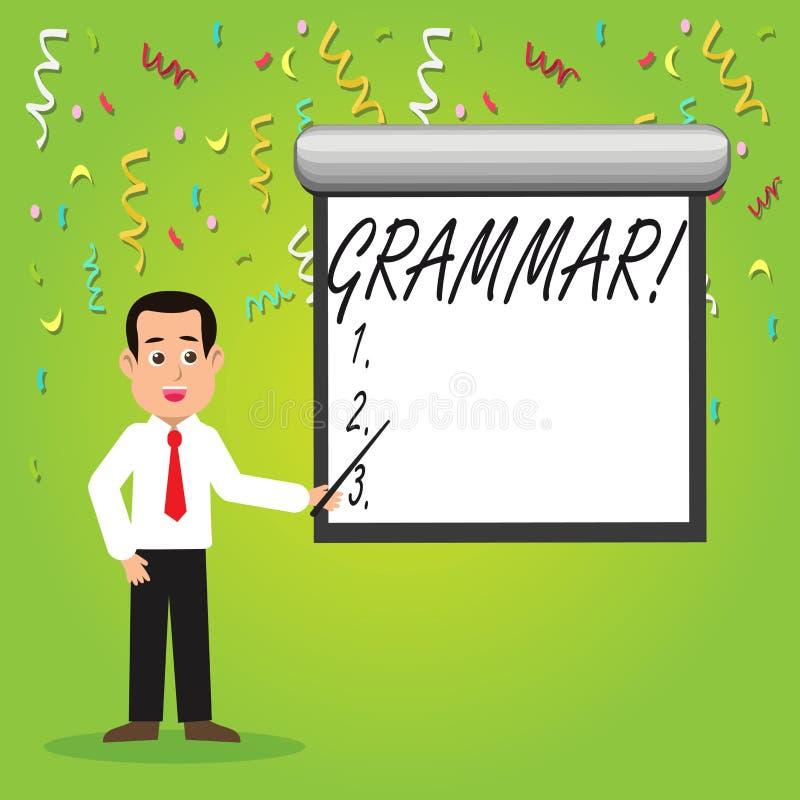 Escritura conceptual de la mano que muestra la gramática Sistema de la foto del negocio y estructura de exhibición de un hombre d stock de ilustración