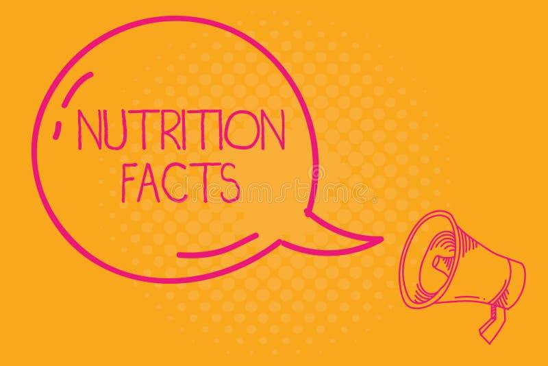 Escritura conceptual de la mano que muestra hechos de la nutrición Información detallada del texto de la foto del negocio sobre l ilustración del vector