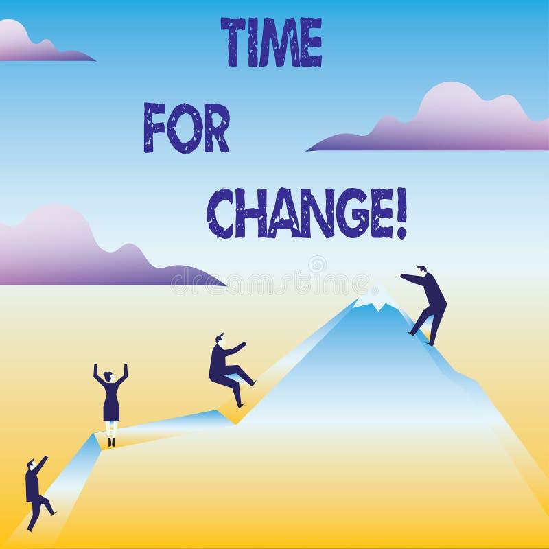 Escritura conceptual de la mano que muestra la hora para el cambio La transición del texto de la foto del negocio crece para mejo libre illustration