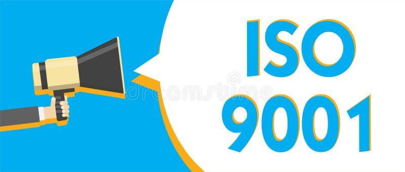 Escritura conceptual de la mano que muestra ISO 9001 Las organizaciones diseñadas texto de la ayuda de la foto del negocio a aseg libre illustration