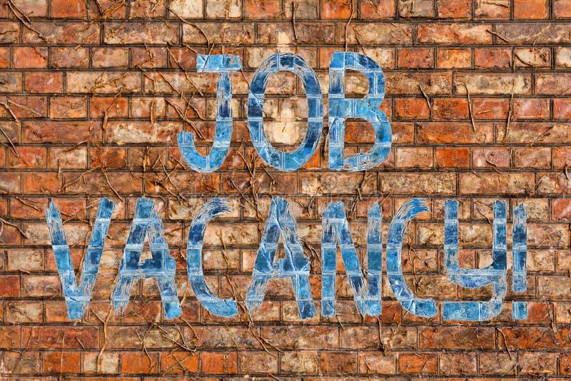 Escritura conceptual de la mano que muestra a Job Vacancy Estado del texto de la foto del negocio de ser trabajo vacío o disponib imagen de archivo