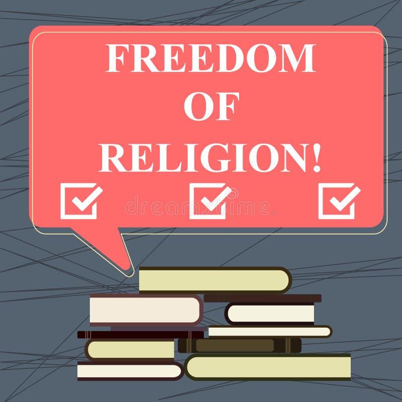 Escritura conceptual de la mano que muestra libertad La derecha del texto de la foto del negocio de practicar cualquier religión  ilustración del vector