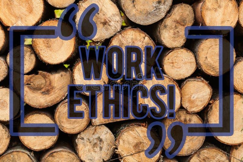 Escritura conceptual de la mano que muestra los éticas de trabajo Principio del texto de la foto del negocio que trabaja difícilm ilustración del vector