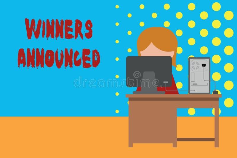 Escritura conceptual de la mano que muestra a los ganadores anunciados Anunciación de exhibición de la foto del negocio que ganó  libre illustration