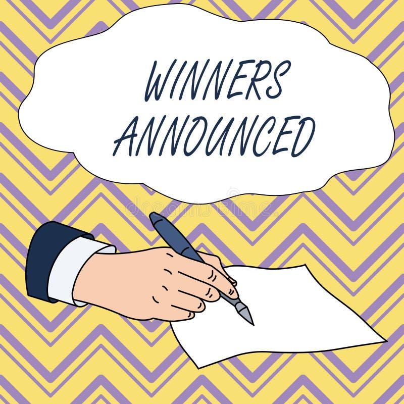 Escritura conceptual de la mano que muestra a los ganadores anunciados Anunciaci?n del texto de la foto del negocio qui?n gan? la stock de ilustración