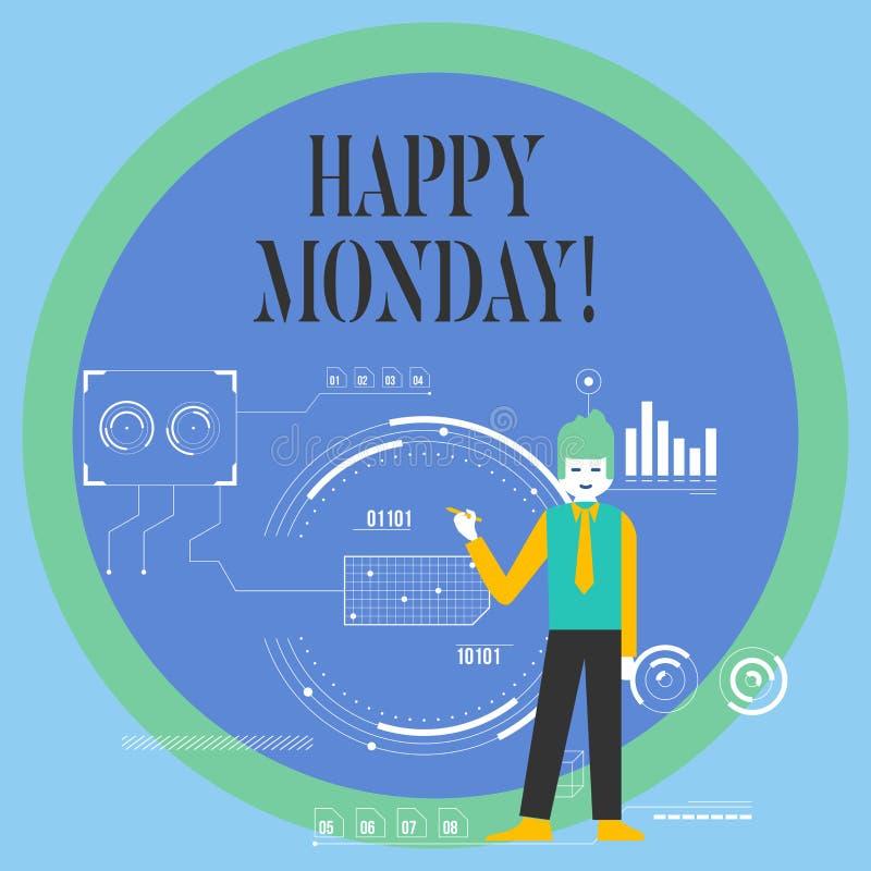 Escritura conceptual de la mano que muestra lunes feliz Foto del negocio que muestra diciendo ese orden de demostración desearlo stock de ilustración
