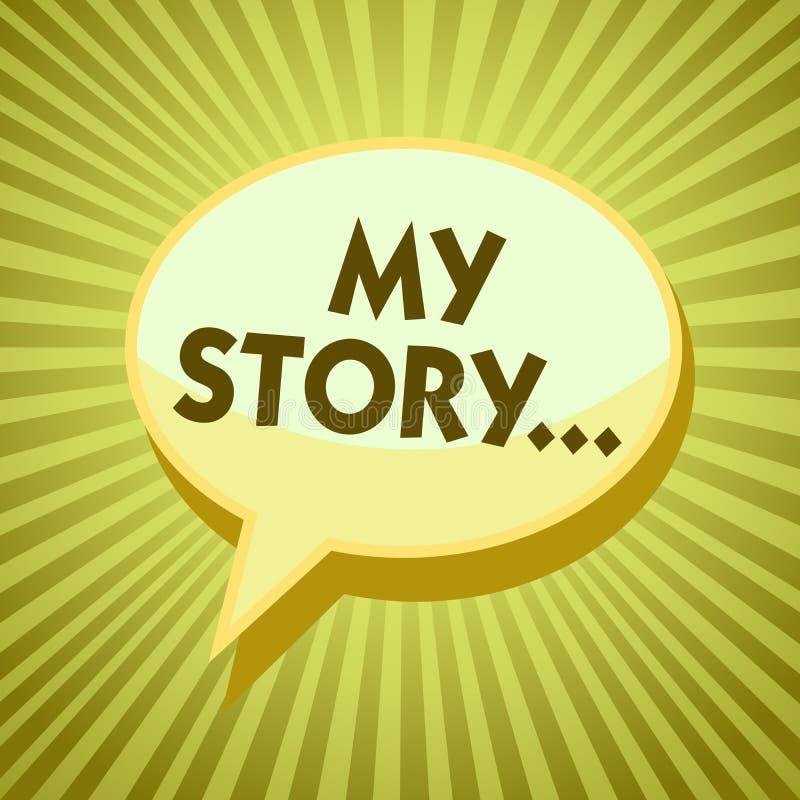 Escritura conceptual de la mano que muestra mi historia Foto del negocio que muestra diciendo alguien o a lectores sobre cómo ust libre illustration