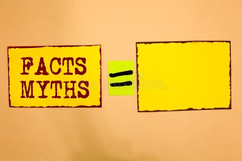 Escritura conceptual de la mano que muestra mitos de los hechos El trabajo de exhibición de la foto del negocio basado en la imag ilustración del vector