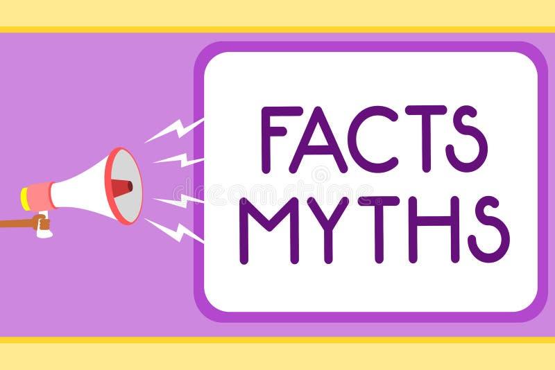 Escritura conceptual de la mano que muestra mitos de los hechos El trabajo de exhibición de la foto del negocio basado en la imag libre illustration