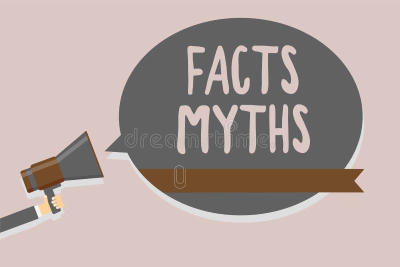 Escritura conceptual de la mano que muestra mitos de los hechos Trabajo del texto de la foto del negocio basado en la imaginación ilustración del vector