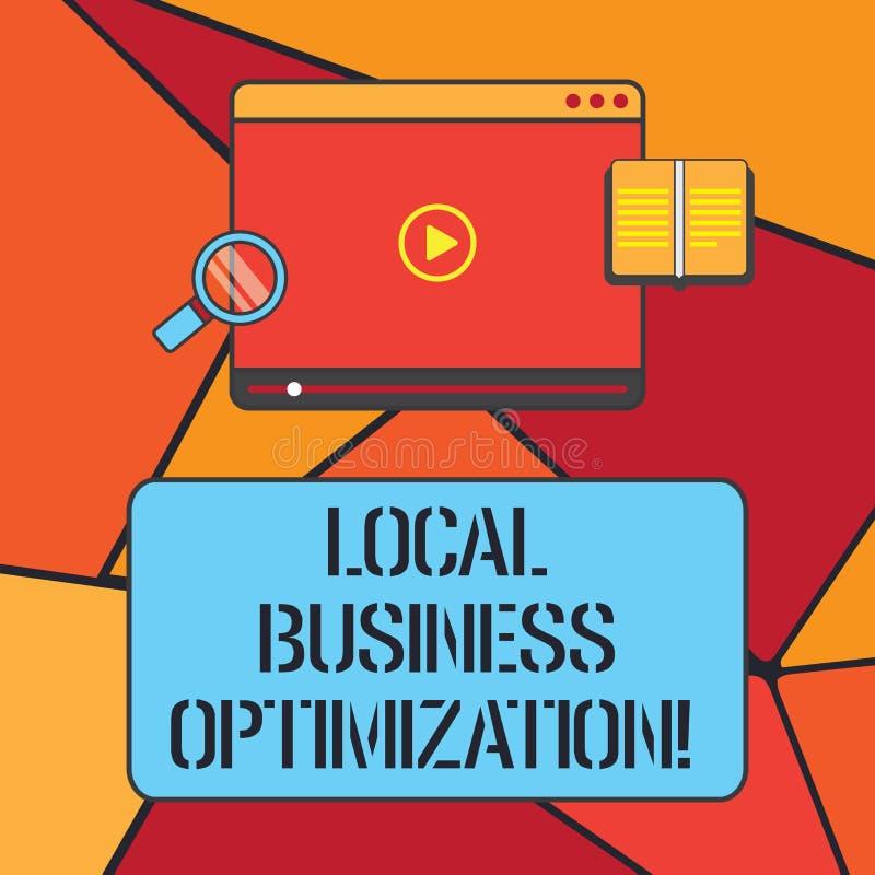 Escritura conceptual de la mano que muestra la optimización local del negocio Foto del negocio que muestra para promover producto libre illustration