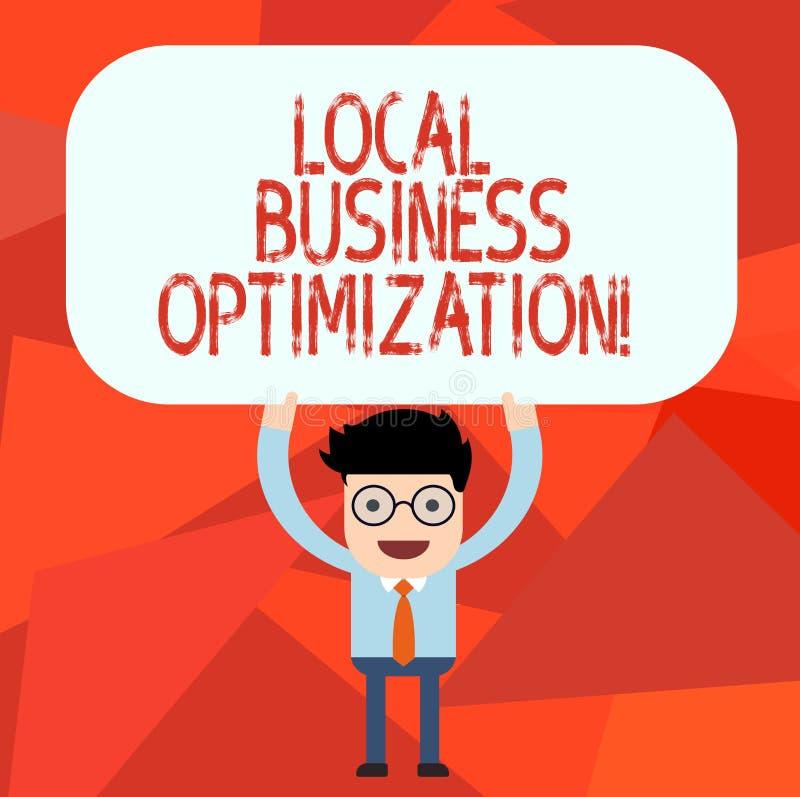 Escritura conceptual de la mano que muestra la optimización local del negocio Texto de la foto del negocio promover productos y s stock de ilustración
