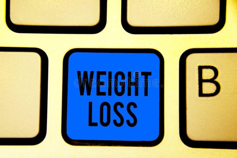 Escritura conceptual de la mano que muestra pérdida de peso La disminución del texto de la foto del negocio de la masa del múscul imagen de archivo