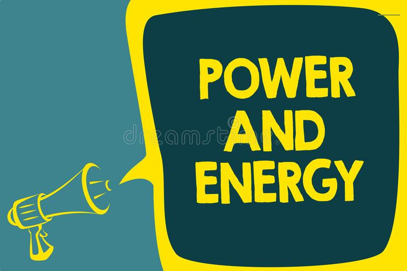 Escritura conceptual de la mano que muestra poder y energía Industria eléctrica de exhibición S enérgico de la distribución de la ilustración del vector