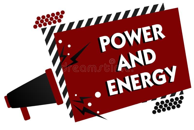 Escritura conceptual de la mano que muestra poder y energía Industria eléctrica Multipl enérgico de la distribución de la electri ilustración del vector