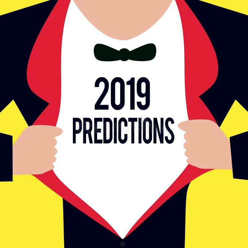 Escritura conceptual de la mano que muestra 2019 predicciones Lista de exhibición de la foto del negocio de cosas que usted sient stock de ilustración