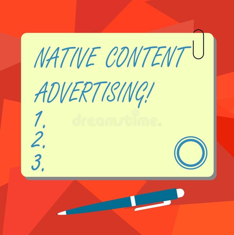 Escritura conceptual de la mano que muestra la publicidad contenta nativa La experiencia del anuncio del texto de la foto del neg ilustración del vector