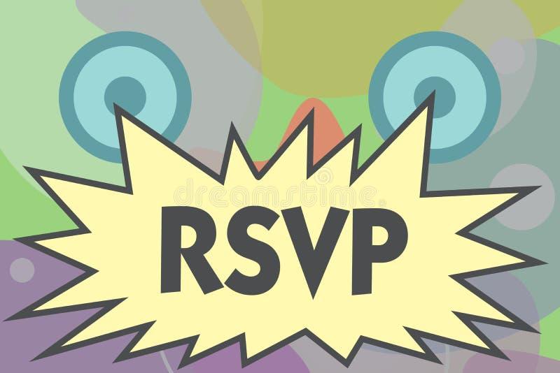 Escritura conceptual de la mano que muestra RSVP El texto de la foto del negocio contesta por favor a una invitación que indica a libre illustration