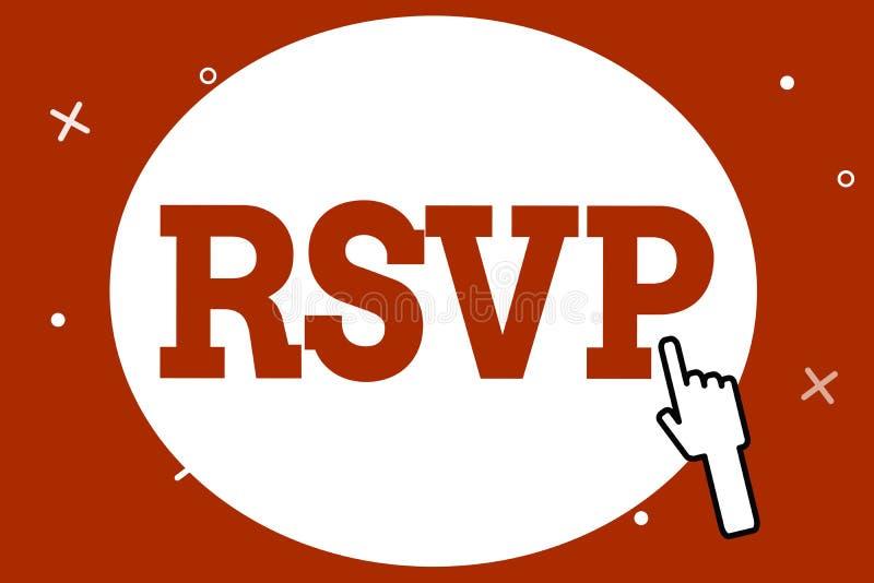 Escritura conceptual de la mano que muestra RSVP La foto del negocio que muestra por favor contesta a una invitación que indica s libre illustration