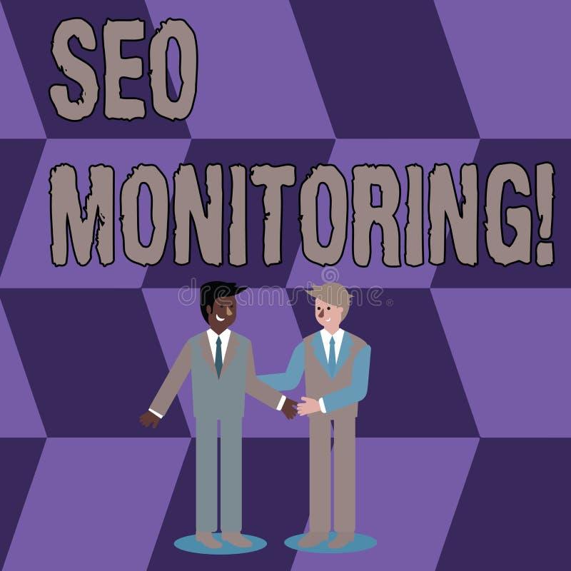 Escritura conceptual de la mano que muestra a Seo Monitoring Foto del negocio que muestra el proceso de optimizar la visibilidad  libre illustration