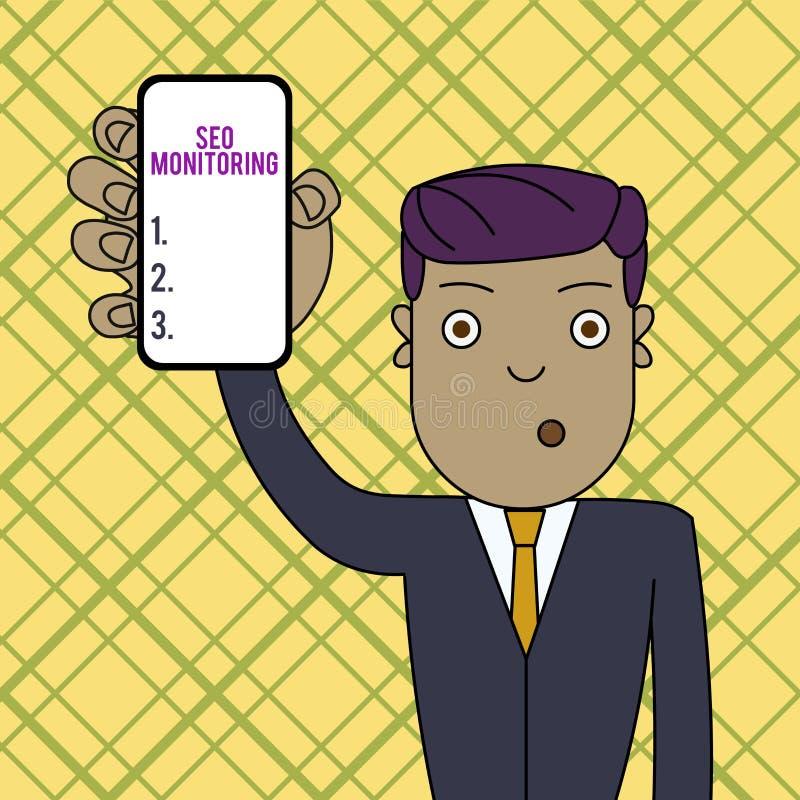 Escritura conceptual de la mano que muestra a Seo Monitoring Foto del negocio que muestra siguiendo el progreso de la estrategia  ilustración del vector