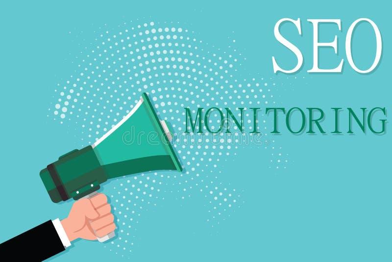 Escritura conceptual de la mano que muestra a Seo Monitoring Foto del negocio que muestra siguiendo el progreso de la estrategia  libre illustration