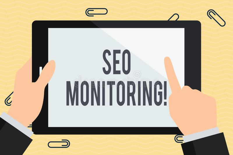 Escritura conceptual de la mano que muestra a Seo Monitoring Texto de la foto del negocio el proceso de optimizar la visibilidad  libre illustration