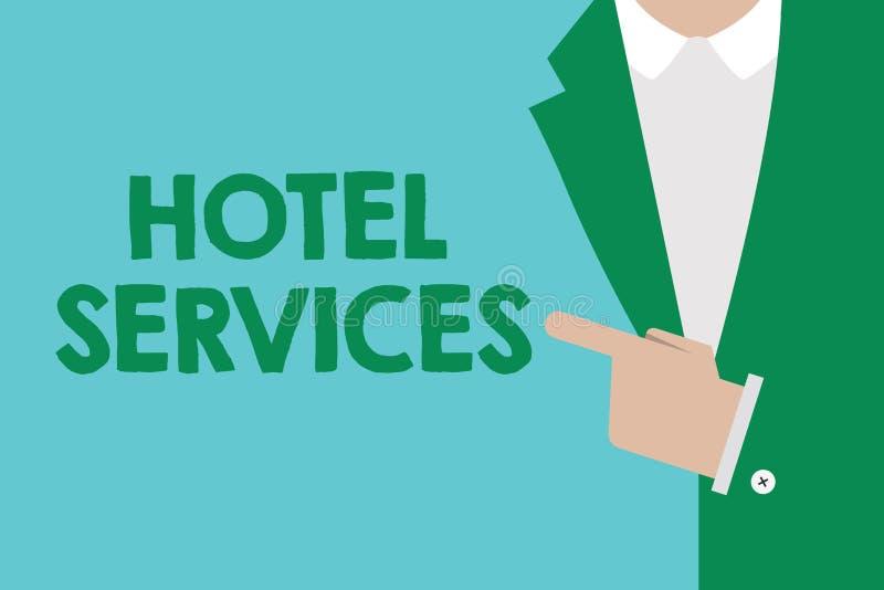 Escritura conceptual de la mano que muestra servicios de hotel Amenidades de exhibición de las instalaciones de la foto del negoc stock de ilustración