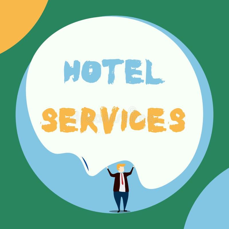 Escritura conceptual de la mano que muestra servicios de hotel Amenidades de exhibición de las instalaciones de la foto del negoc libre illustration