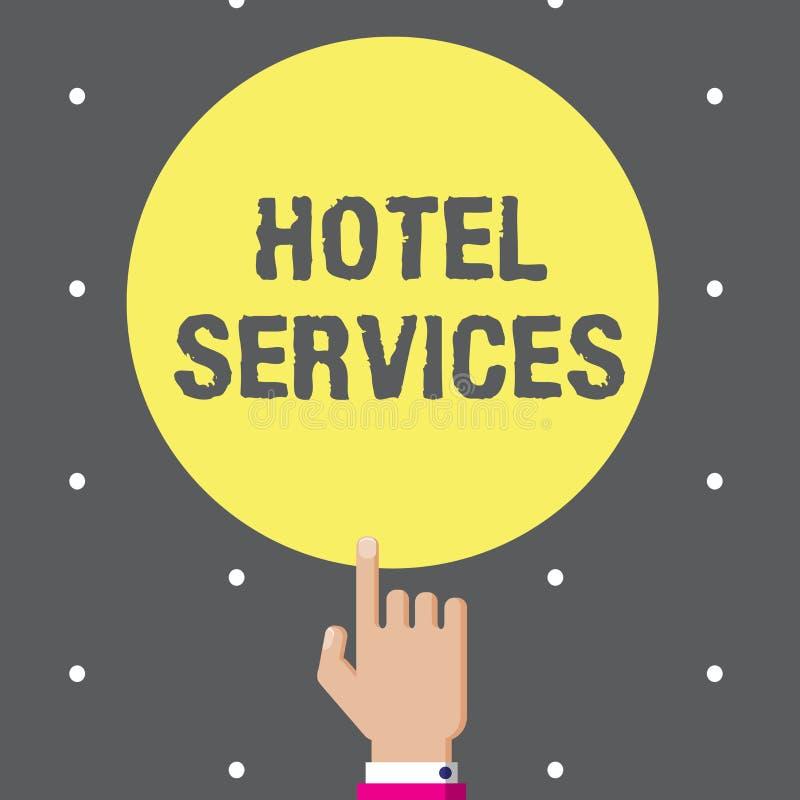 Escritura conceptual de la mano que muestra servicios de hotel Amenidades de las instalaciones del texto de la foto del negocio d stock de ilustración