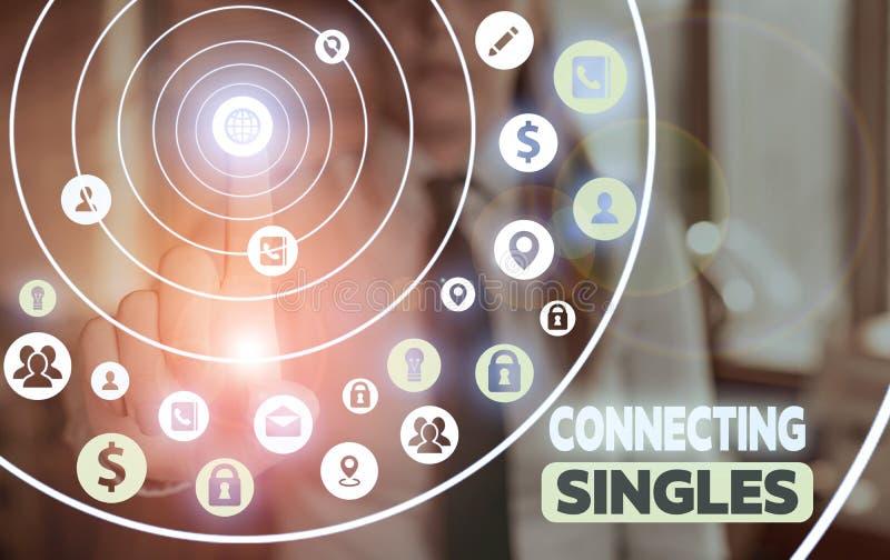 Escritura conceptual a mano mostrando Connecting Singles Foto de negocios mostrando sitio de citas en línea para solteros sin nin fotos de archivo libres de regalías