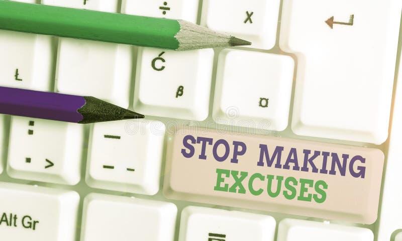 Escritura conceptual a mano mostrando Stop Making Excuses Texto de una foto de negocios Cese para justificar su inacción romper e imagenes de archivo