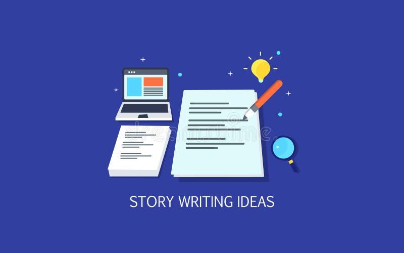 Escritura contenta creativa, narración para la audiencia en línea, concepto de acoplamiento de la escritura de copia Bandera plan stock de ilustración