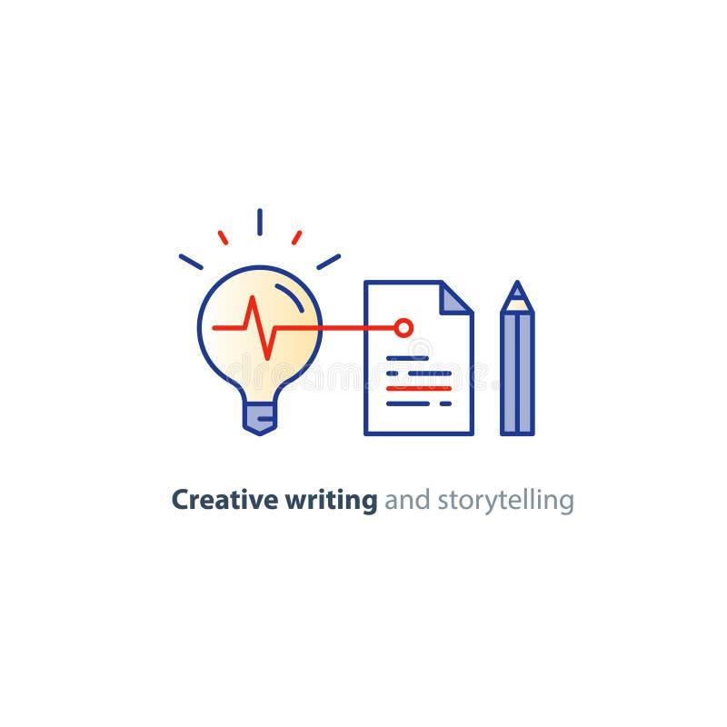 Escritura creativa, idea de la narración de cuentos, página de papel e iconos lineares del lápiz stock de ilustración