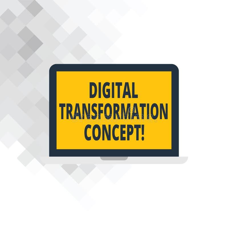Escritura de concepto de la transformación de Digitaces de la demostración de la nota Uso sin papel que va de exhibición de la fo stock de ilustración