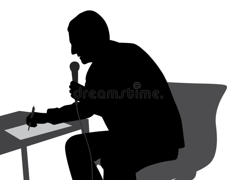 Escritura de discurso del Presidente que conduce el evento stock de ilustración